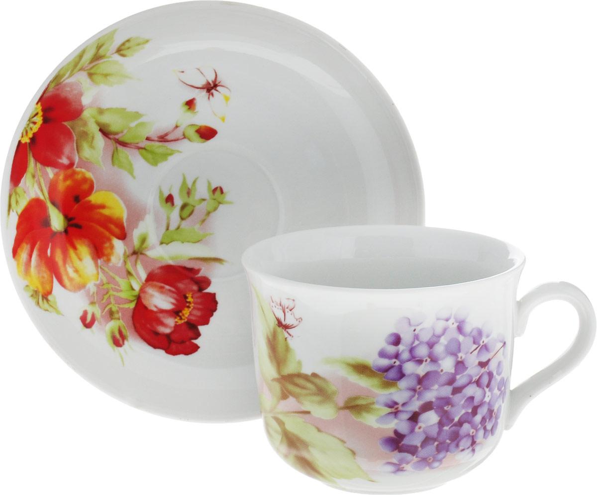 """Чашка чайная с блюдцем Дулево """"Ностальгия. Альпийские цветы"""", 450 мл"""