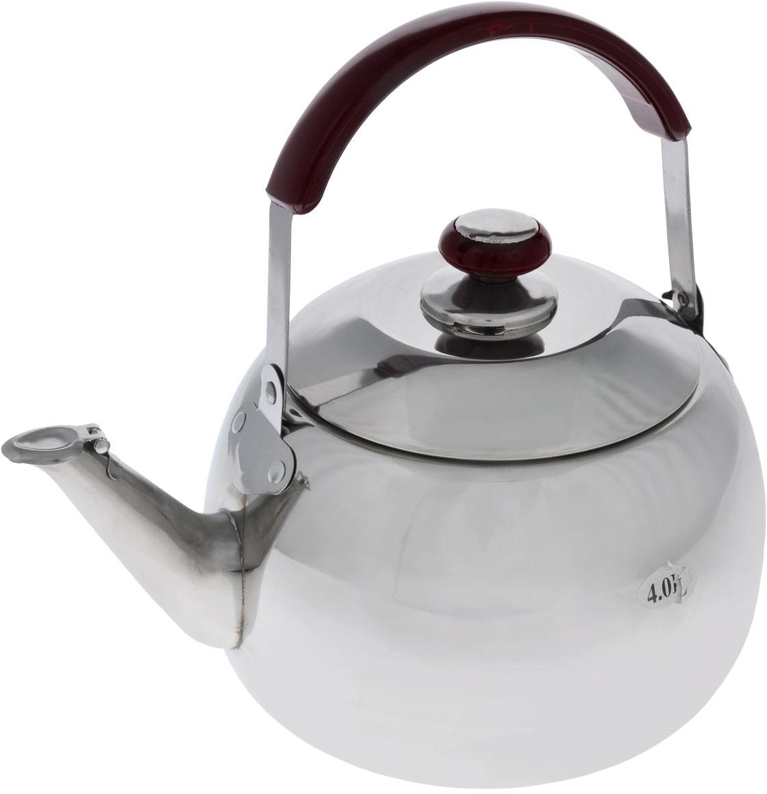 Чайник Mayer & Boch со свистком, 4 л2524Корпус чайника Mayer & Boch выполнен из высококачественной нержавеющей стали с зеркальной поверхностью, что обеспечивает долговечность использования. Подвижная ручка из стали с накладкой из бакелита делает использование чайника очень удобным и безопасным. Крышка из нержавеющей стали снабжена свистком, что позволит вам контролировать процесс подогрева или кипячения воды. Капсулированное дно с прослойкой из алюминия обеспечивает наилучшее распределение тепла. Эстетичный и функциональный, с эксклюзивным дизайном, чайник будет оригинально смотреться в любом интерьере. Можно мыть в посудомоечной машине. Диаметр основания чайника: 17 см. Высота чайника (без учета крышки): 13 см. Высота чайника (с учетом крышки): 18 см. Рекомендуем!