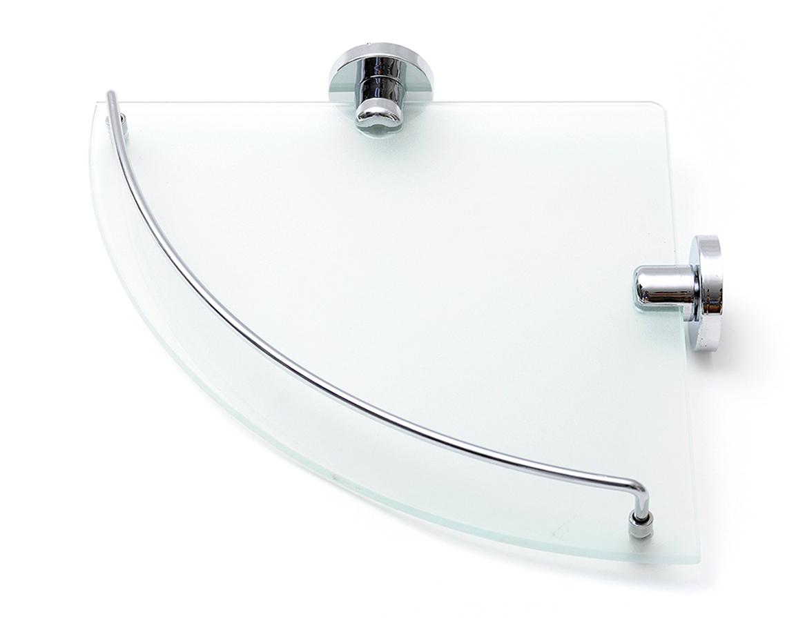 Полка для ванной комнаты Verran, настенная, угловая, цвет: прозрачный, 24 х 4 х 24 см полка для ванной комнаты verran 2 ярусная настенная угловая цвет серебристый 22 5 х 22 5 х 26 5 см
