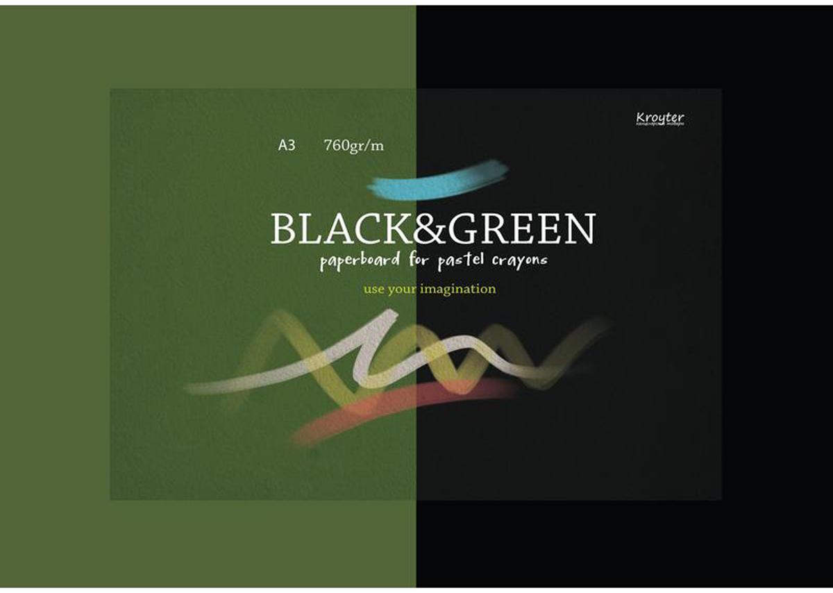 Kroyter Альбом для рисования пастелью Black & Green А3 10 листов kroyter альбом для рисования пастелью цвет терракотовый 10 листов