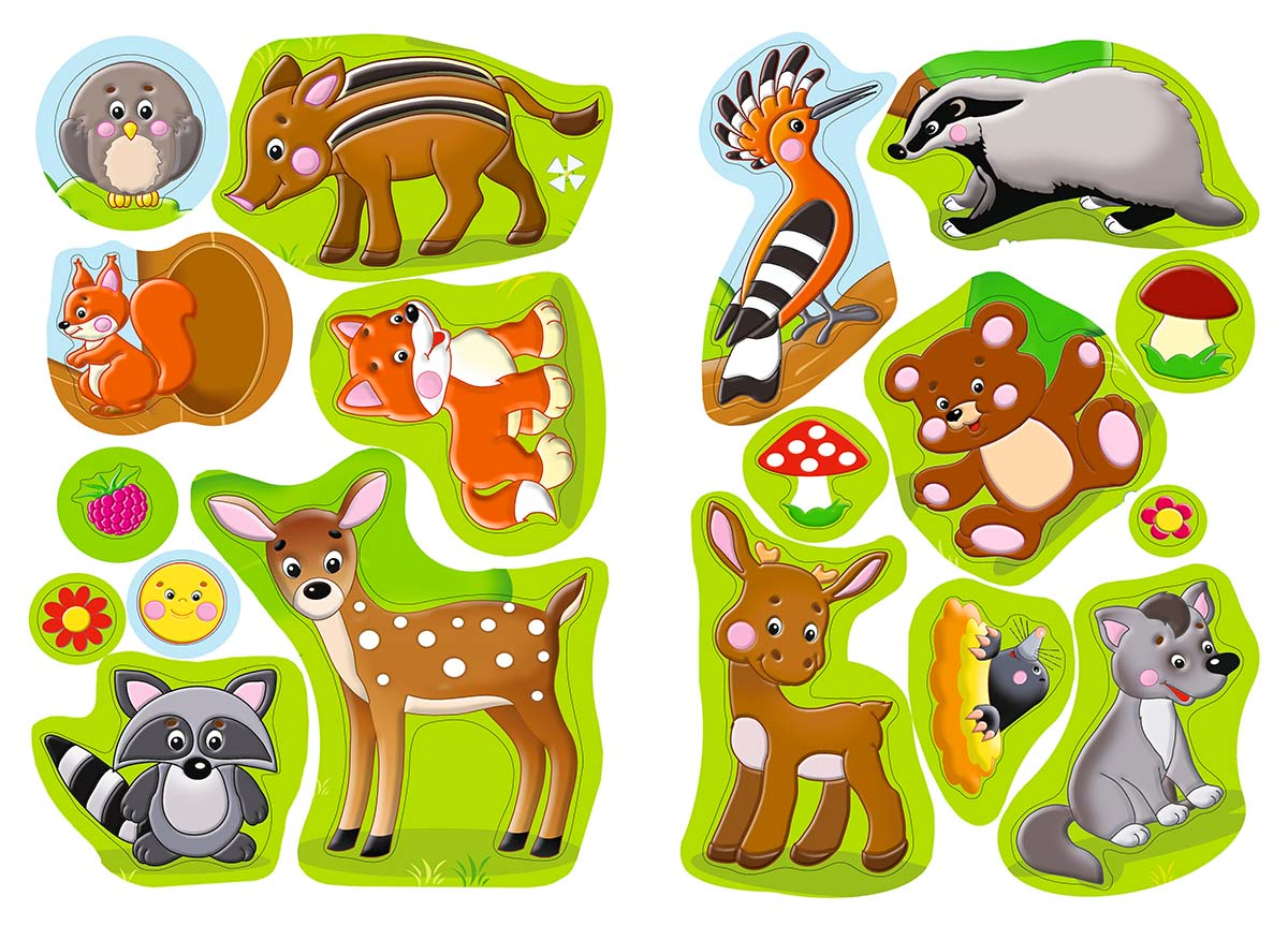 Лесные звери. Обучающие наклейки