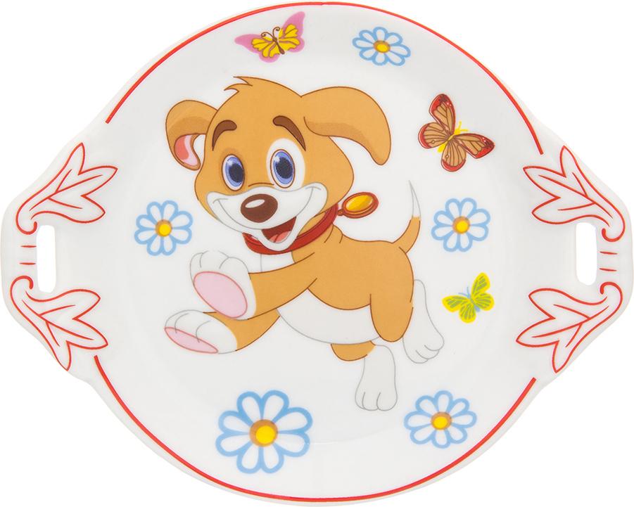 Фото - Тарелка под лимон Elan Gallery Щенок с бабочками в цветах, 12,8 х 10,5 х 2 см тарелка под лимон elan gallery бабочки с вилкой 17 х 11 х 2 см