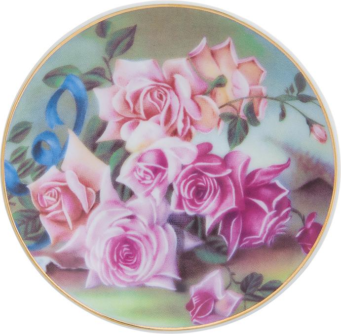 Тарелка декоративная Elan Gallery Розы, с подставкой, цвет: темно-зеленый, диаметр 10 см elan gallery часы с подставкой итальянский натюрморт