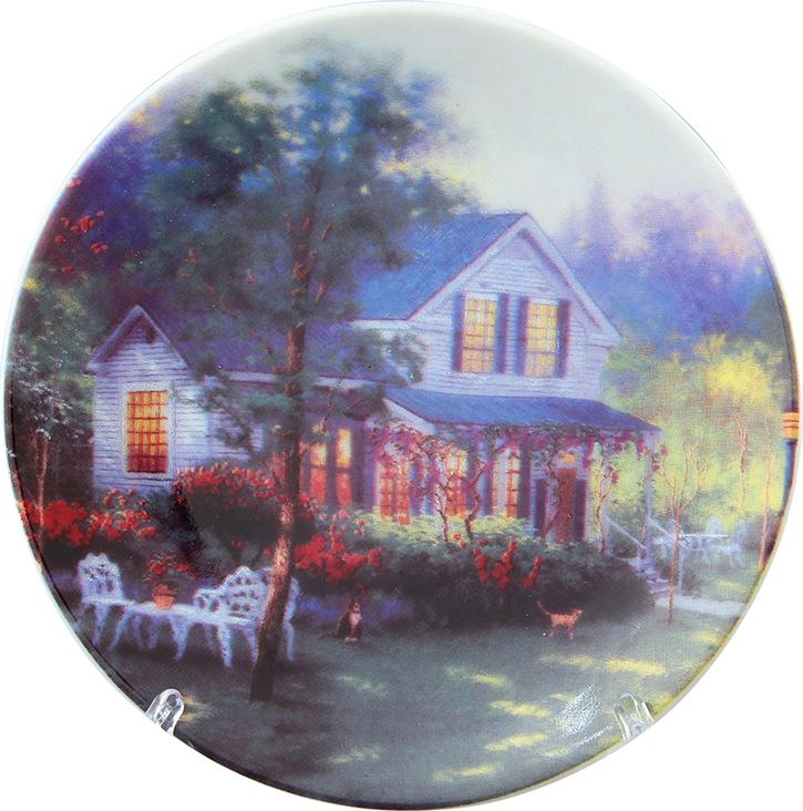 Тарелка декоративная Elan Gallery Усадьба, с подставкой, цвет: серый, диаметр 10 см elan gallery часы с подставкой итальянский натюрморт