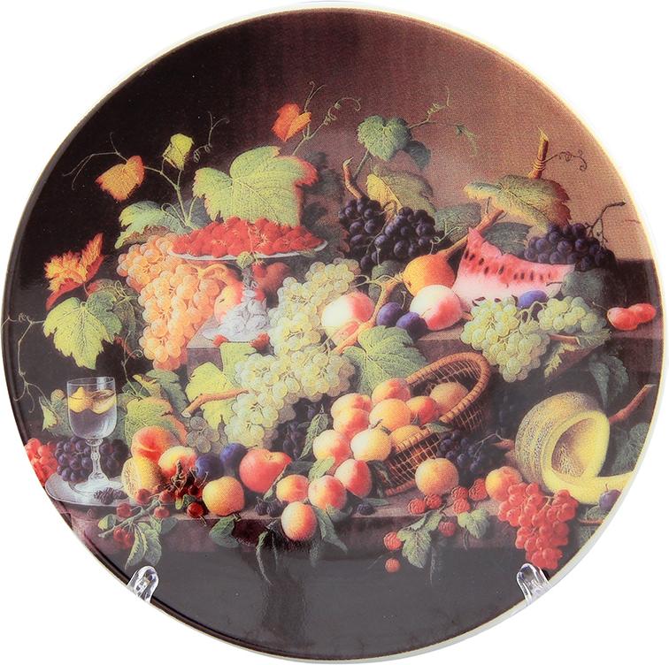 Тарелка декоративная Elan Gallery Натюрморт с фруктами, с подставкой, цвет: красно-коричневый, диаметр 10 см elan gallery часы с подставкой итальянский натюрморт