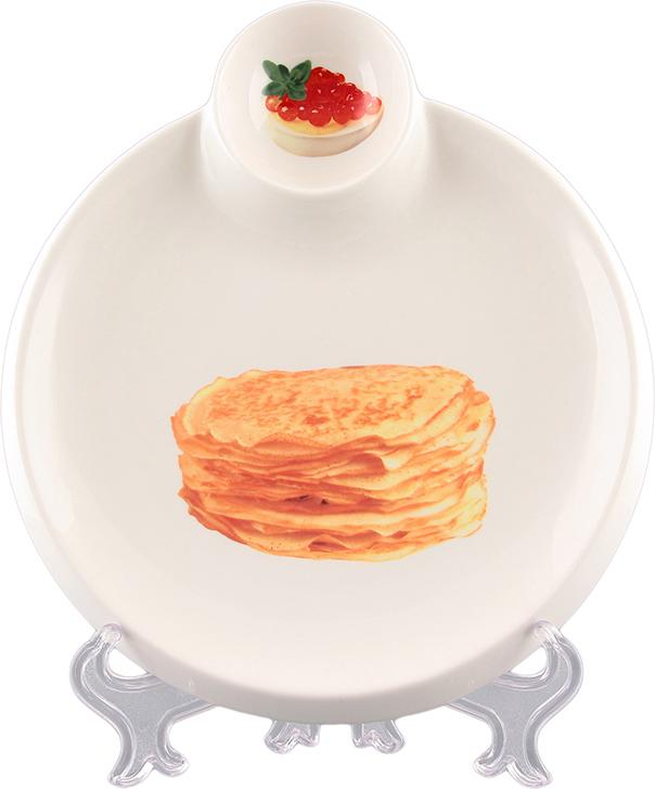 Тарелка для блинов Elan Gallery Блины, с соусницей, диаметр 20 см соусник elan gallery листок 15 7 5 2 5 см 2 секции