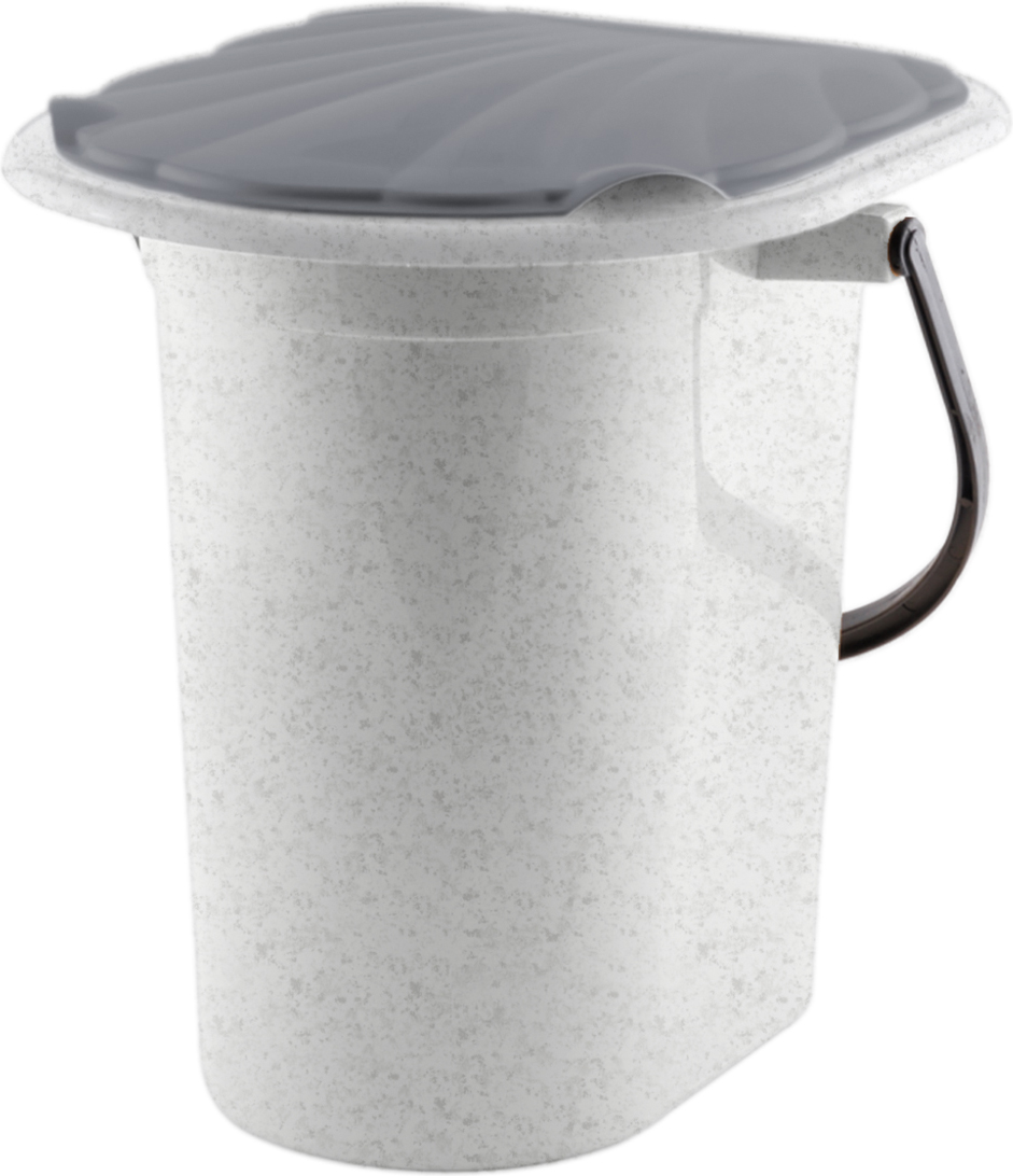 Ведро-туалет InGreen, цвет: мраморный, серый, 18 л