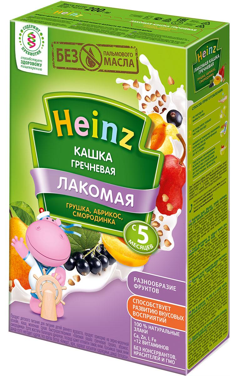 Heinz Лакомая каша гречневая грушка, абрикос, смородинка, с 5 месяцев, 200 г heinz каша гречневая с омегой 3 сашет с 4 месяцев 30 г