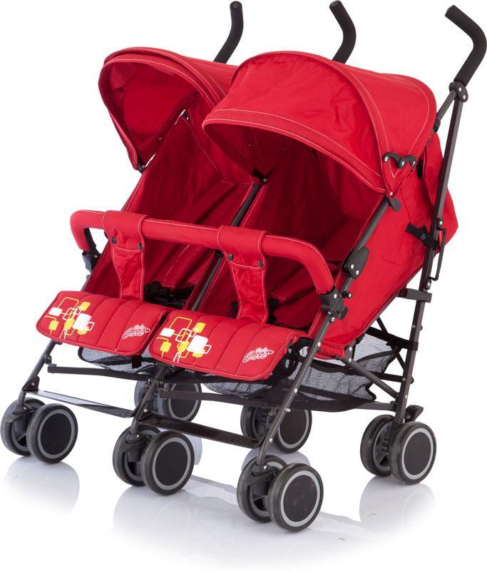 коляски для двойни и погодок Baby Care Коляска-трость для двойни City Twin цвет красный