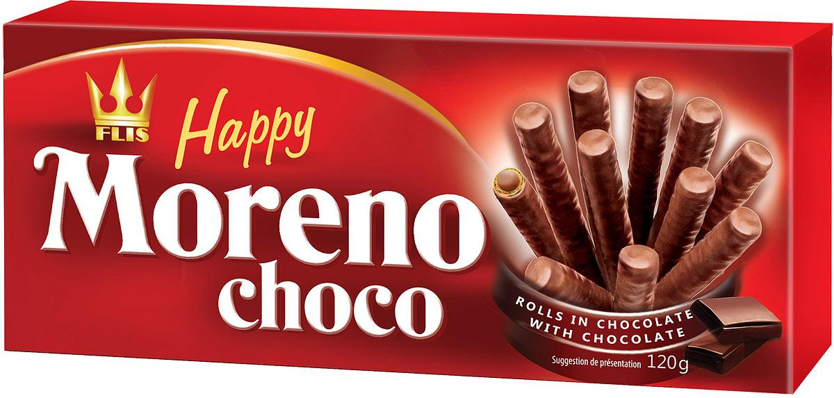 Flis Happy Moreno Choco трубочки вафельные в шоколаде, 120 г flis happy moka кофейные глазированные конфеты 140 г