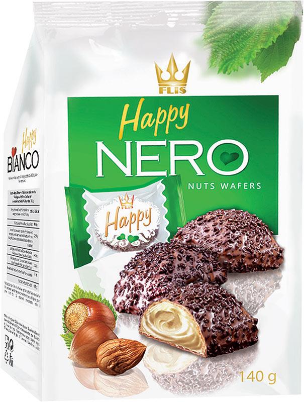 Flis Happy Nero ореховые глазированные конфеты, 140 г flis happy moka кофейные глазированные конфеты 140 г