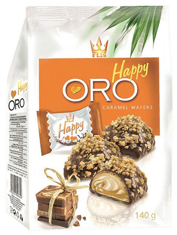 Flis Happy Oro карамельные глазированные конфеты, 140 г flis happy moka кофейные глазированные конфеты 140 г