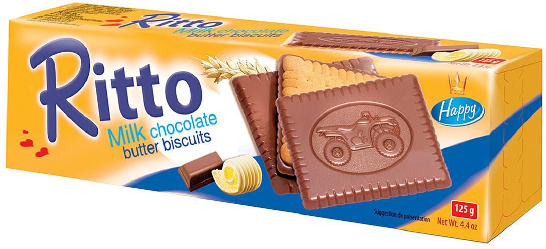 Flis Ritto Milk печенье сдобное в молочном шоколаде, 125 г