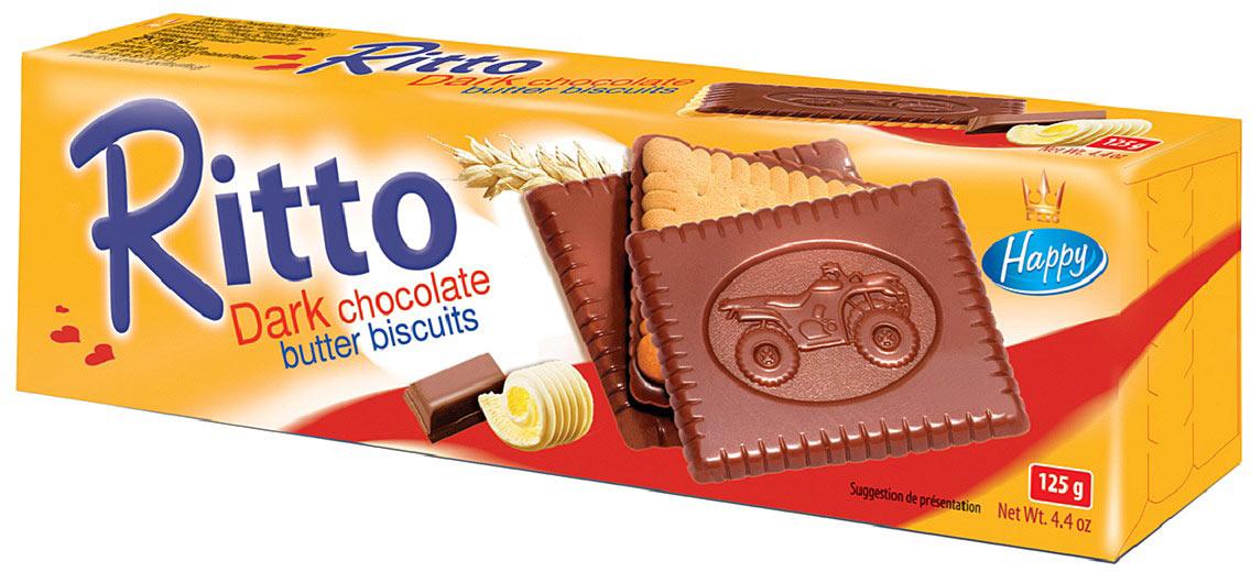 Flis Ritto Dark печенье сдобное в шоколаде, 125 г