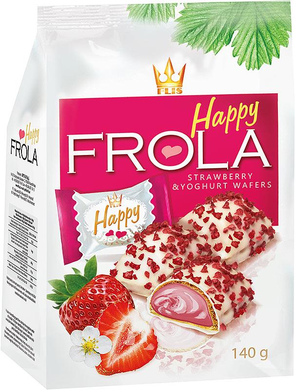 Flis Happy Frola клубнично-йогуртовые глазированные конфеты, 140 г flis happy moka кофейные глазированные конфеты 140 г