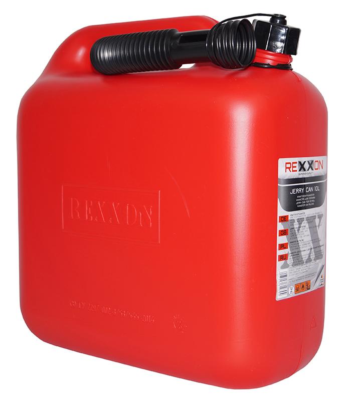 Канистра REXXON для топлива, пластиковая с гибким шлангом, 10 л цена