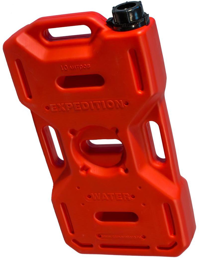 Канистра автомобильная Экстрим Плюс, цвет: красный, 10 л канистра для гсм stels вертикальная усиленная цвет темно зеленый 10 л