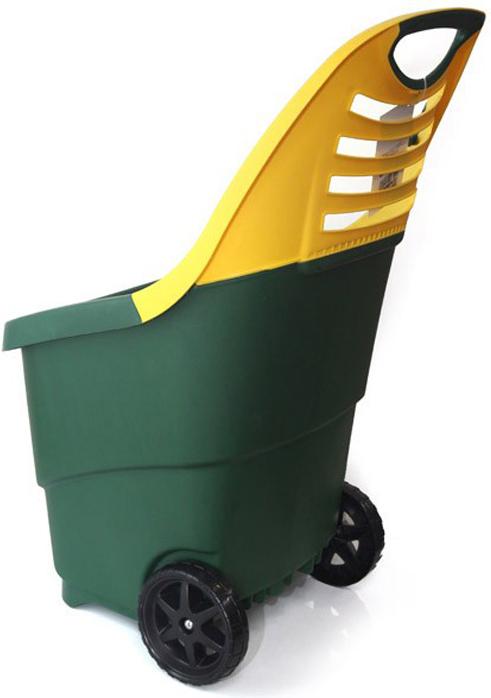 Тележка садовая Helex, цвет: зеленый, желтый, 65 л elc тележка для уборки