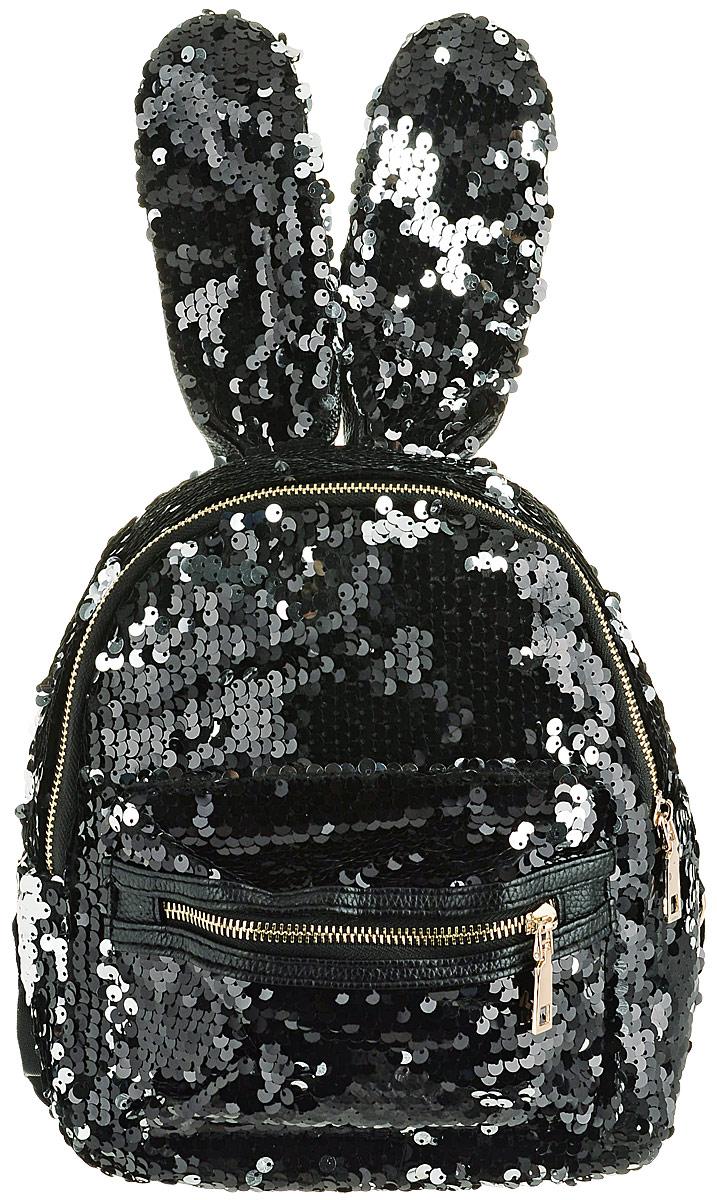 2574585cc133 TipTop Рюкзак с пайетками Моника с ушами цвет черный — купить в интернет- магазине OZON.ru с быстрой доставкой
