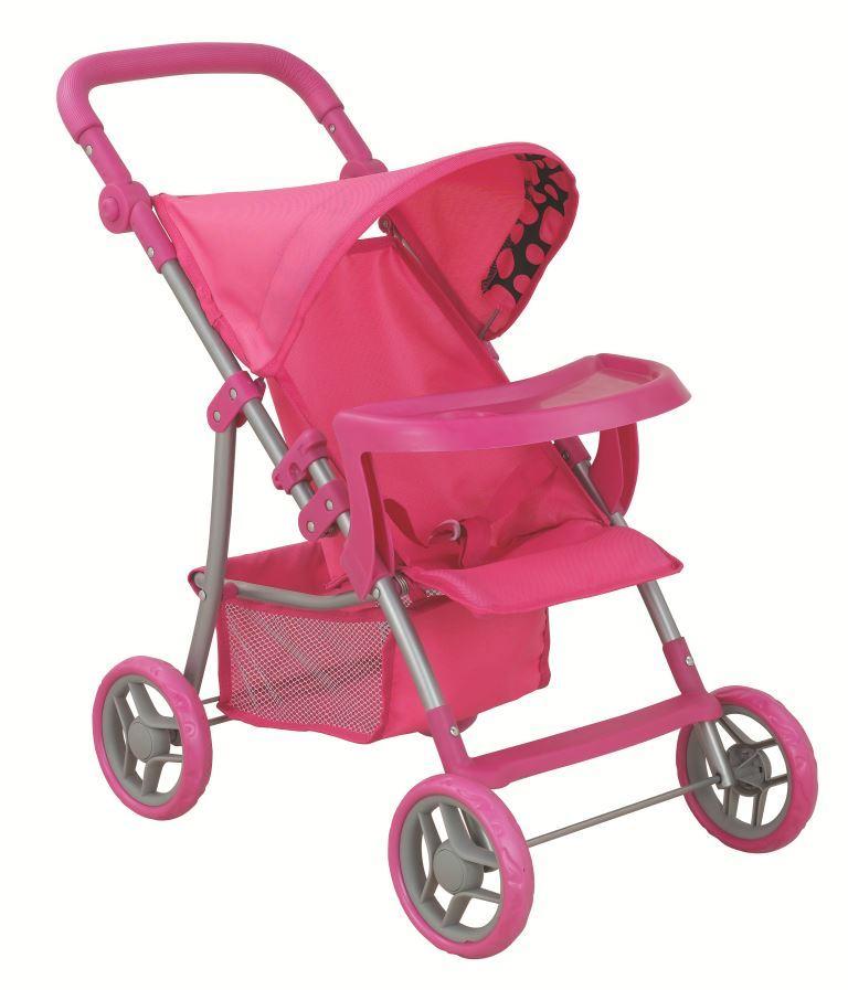 Транспорт для кукол Buggy Boom Коляска для кукол 8232C Skyna (Скайна), темно-розовый, черно-розовый