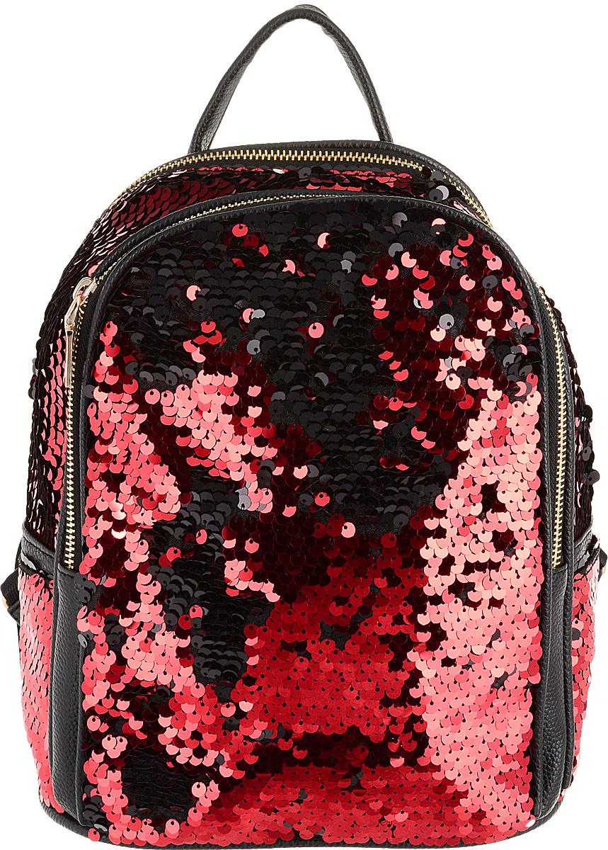 a3315fb42819 TipTop Рюкзак с пайетками Джессика цвет красный черный — купить в интернет- магазине OZON.ru с быстрой доставкой