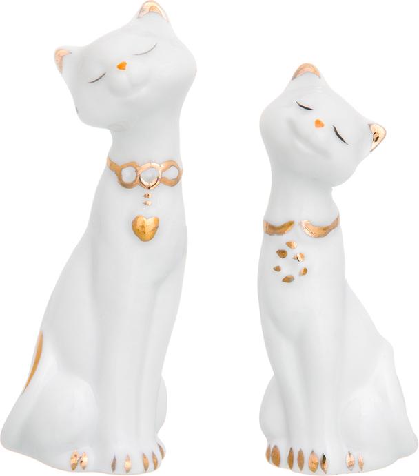 Фигурка декоративная Elan Gallery Пара кошек, цвет: белый, золотистый, 7 х 3,5 х 10 см, 2 шт набор менажниц elan gallery волна оливки 3 секции с 2 шпажками 17 х 15 х 2 5 см 4 предмета