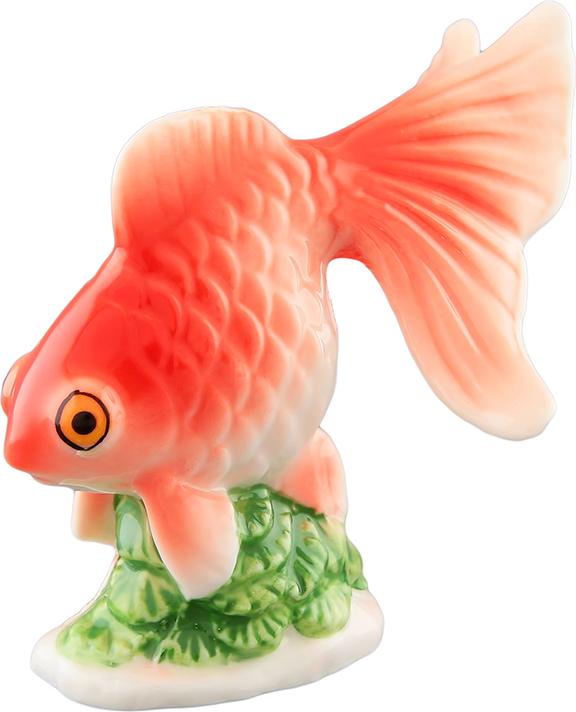Фигурка декоративная Elan Gallery Золотая рыбка, цвет: красный, 8 х 7 х 7,5 см салатник elan gallery дед мороз 13 8 х 12 8 х 8 3 см