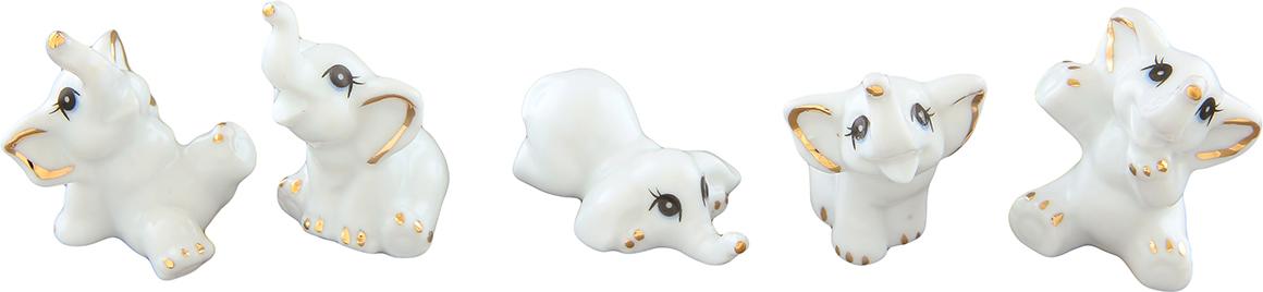 Набор фигурок декоративных Elan Gallery Слоники, цвет: белый, 5 предметов набор декоративных фигурок elan gallery лисенок и лисичка 2 шт