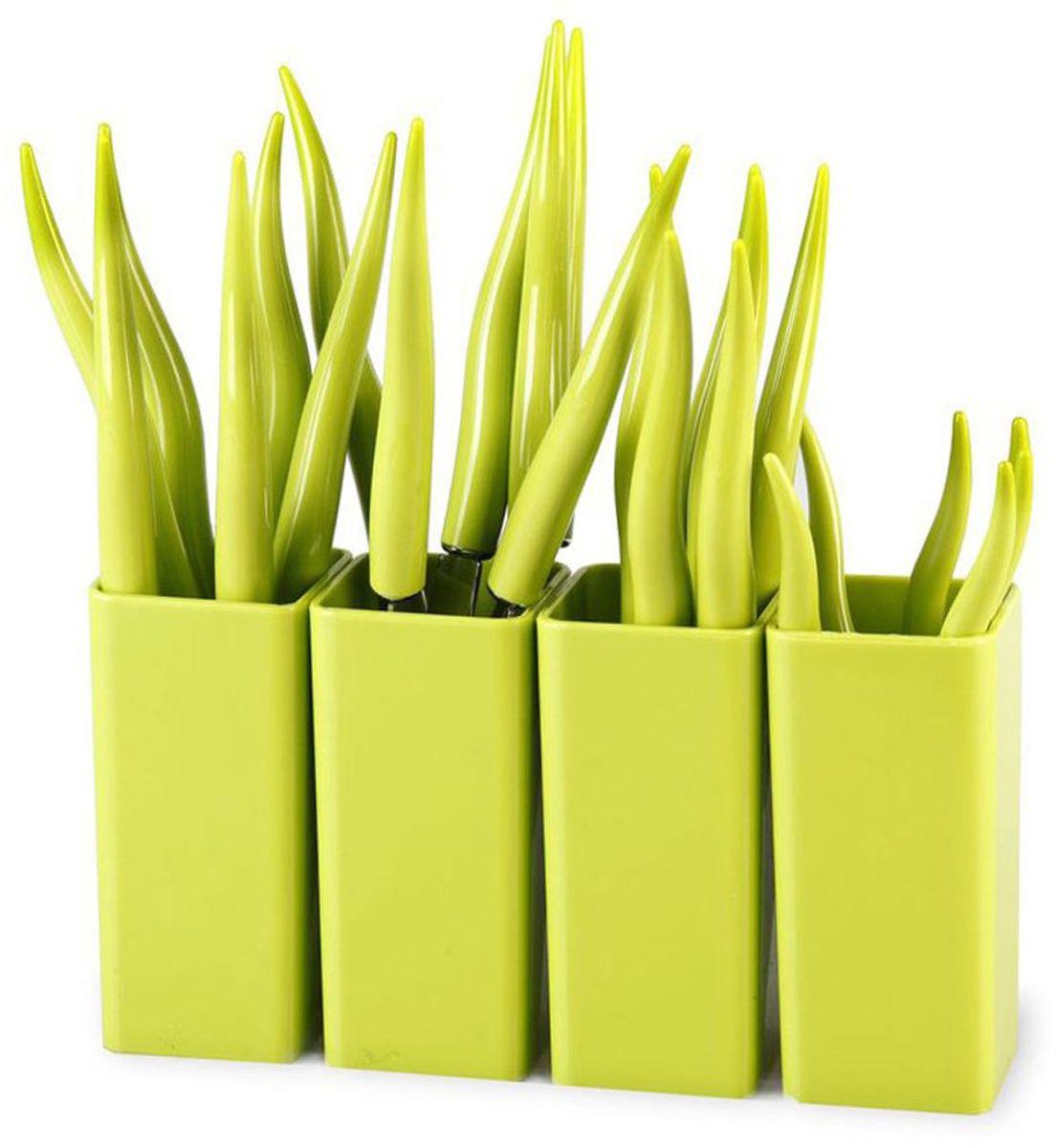 Набор столовых приборов MOULINvilla Chili, цвет: зеленый, 24 предмета набор из 3 столовых ножей крис 2013037u