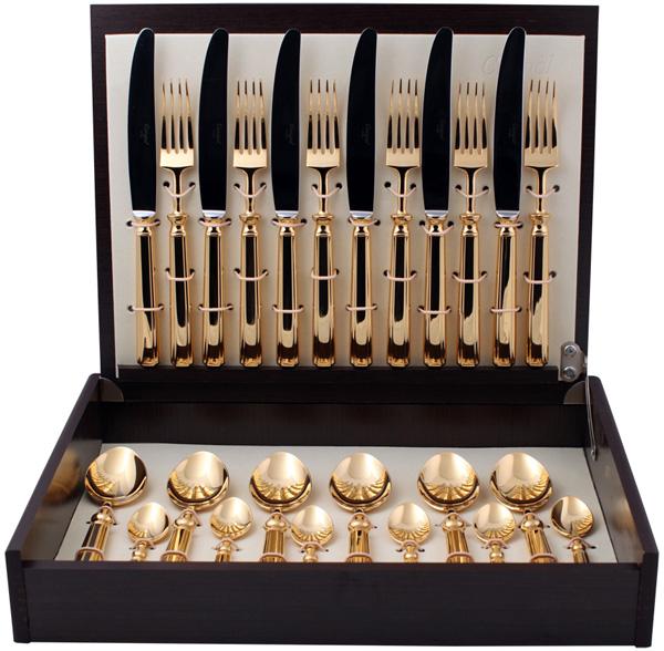 Набор столовых приборов Cutipol Piccadilly Gold, цвет: золотой, 24 предмета. 9141 набор столовых приборов nehir akasyatitaniumgold золотой