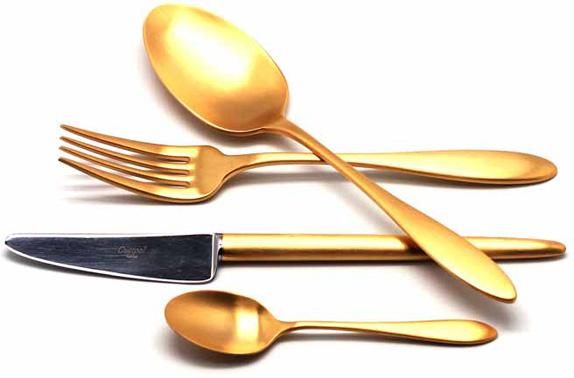 Набор столовых приборов Cutipol Van der Rohe Gold, цвет: золотой, матовый, 24 предмета. 9212 набор столовых приборов nehir akasyatitaniumgold золотой