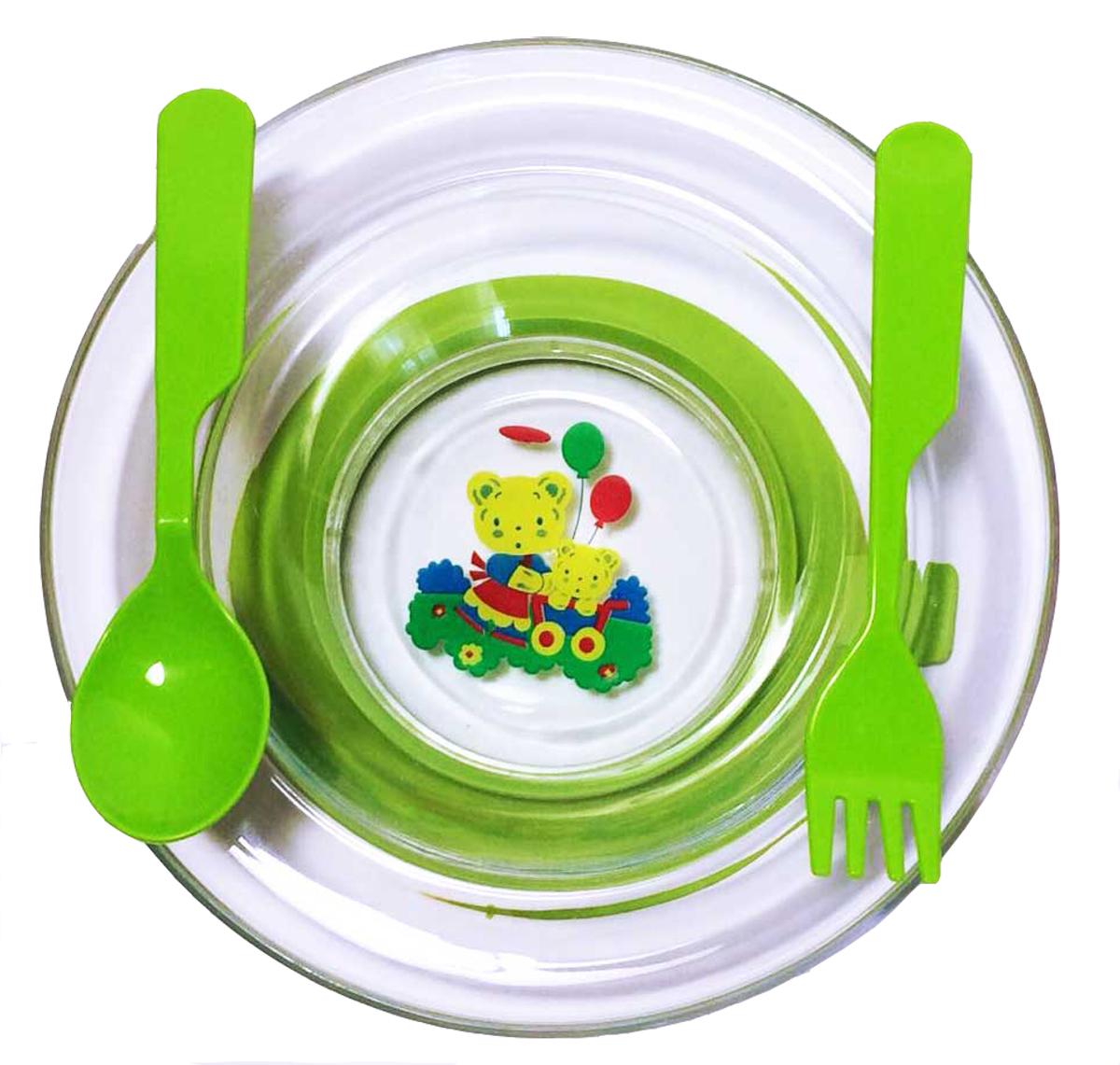 АртХаус Набор детской посуды цвет зеленый 3 предмета