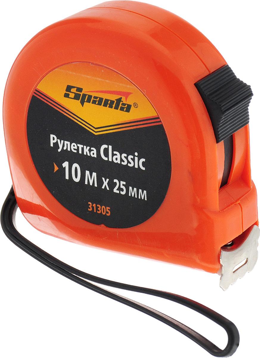 Рулетка Sparta Classic, цвет: оранжевый, 25 мм х 10 м