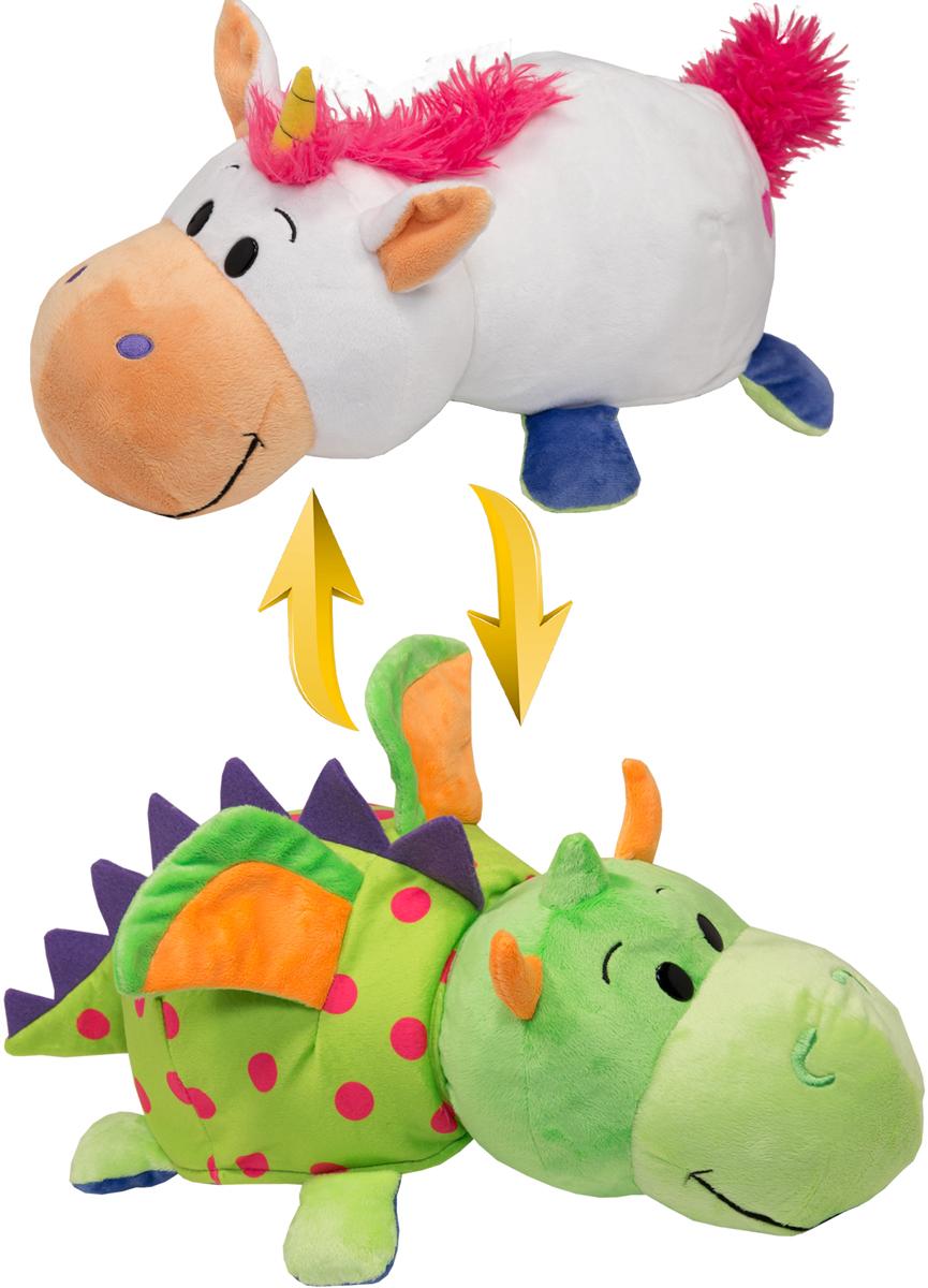 1TOYМягкая игрушкаВывернушка 2в1 Единорог-Дракон длина 35 см мягкие игрушки 1toy вывернушка единорог дракон