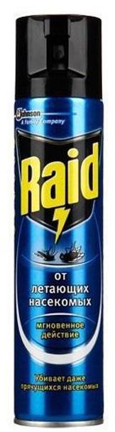 Аэрозоль от летающих насекомых Raid, 300 мл аэрозоль от ползающих и летающих насекомых raid лаванда 300 мл