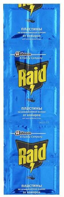 Пластины от комаров Raid, на алюминиевой основе, 10 шт рейд электрофумигатор пластины от комаров 10шт