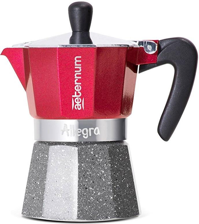 Гейзерная кофеварка Bialetti Aeternum Allegra Petra RED, на 6 чашек, красный, серый кофеварка гейзерная bialetti aeternum elegance 6 порций алюминий 6008