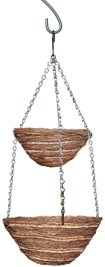 Кашпо плетеное Грин Бэлт, подвесное, двухярусное, диаметр 25-30 см кронштейн декоративный грин бэлт петух для подвесных кашпо