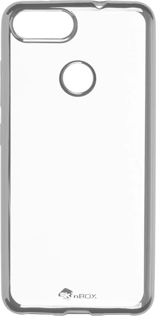 Skinbox Silicone Chrome Border 4People чехол для ASUS ZenFone Max Plus (M1), Silver skinbox 4people чехол для asus zenfone 4 a450cg white