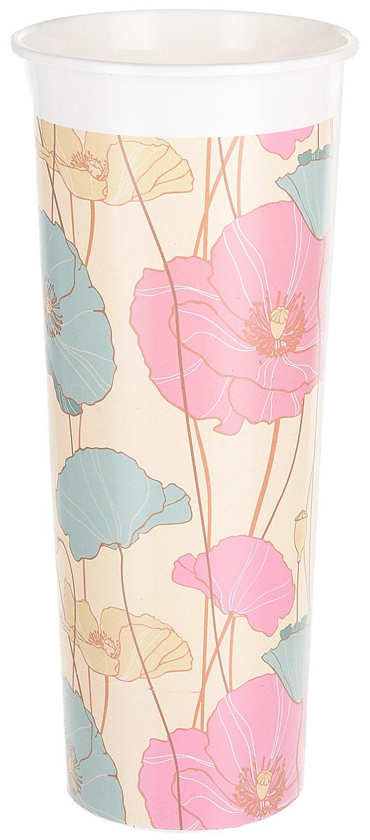 Ваза InGreen Маки, цвет: бежевый, голубой, розовый, высота 26 см ваза nina glass грейси цвет оранжевый высота 19 см