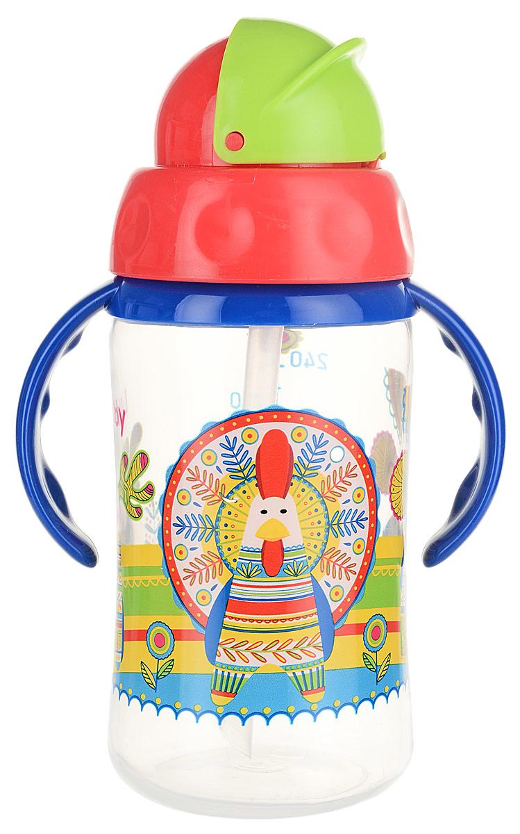 Lubby Поильник Русские Мотивы с трубочкой от 6 месяцев цвет синий красный салатовый 240 мл цена