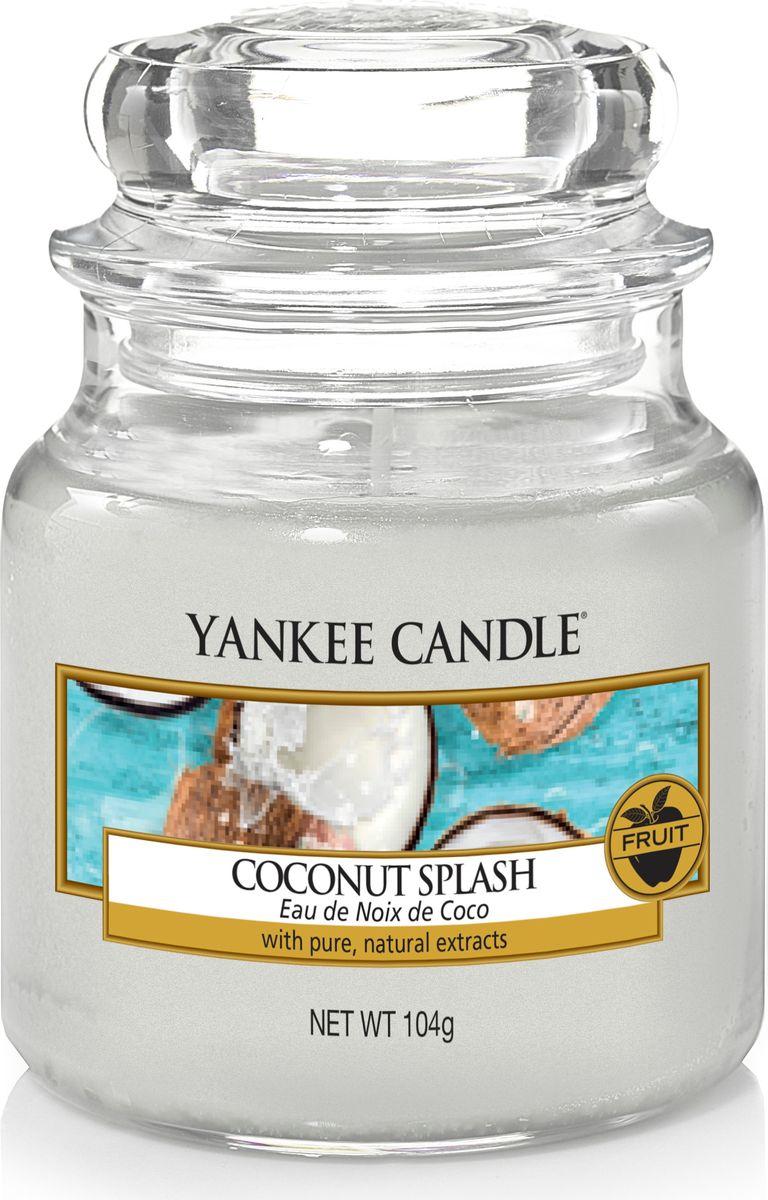 Свеча ароматизированная Yankee Candle Кокосовый всплеск / Coconut Splash, цвет: белый, высота 8,6 см свеча ароматизированная yankee candle angel wings высота 12 7 см