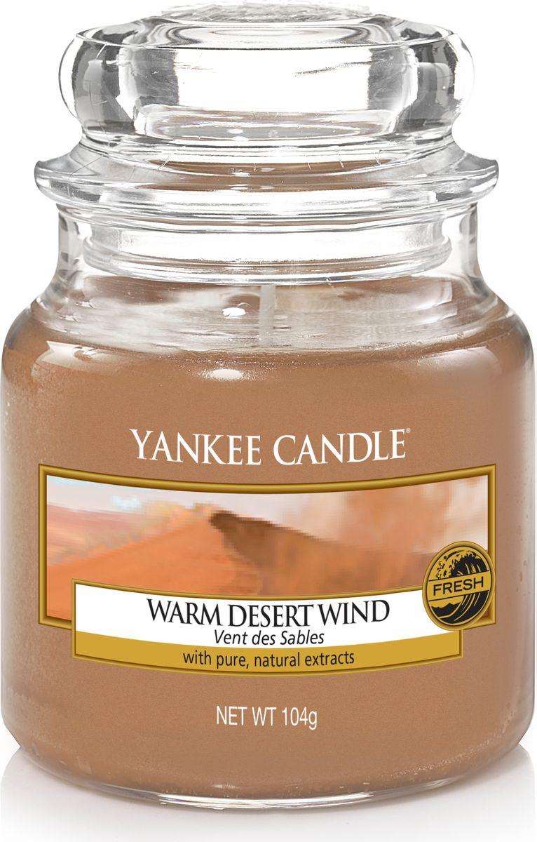 Свеча ароматизированная Yankee Candle Теплый ветер пустыни / Warm Desert Wind, цвет: коричневый, высота 8,6 см свеча ароматизированная yankee candle angel wings высота 12 7 см