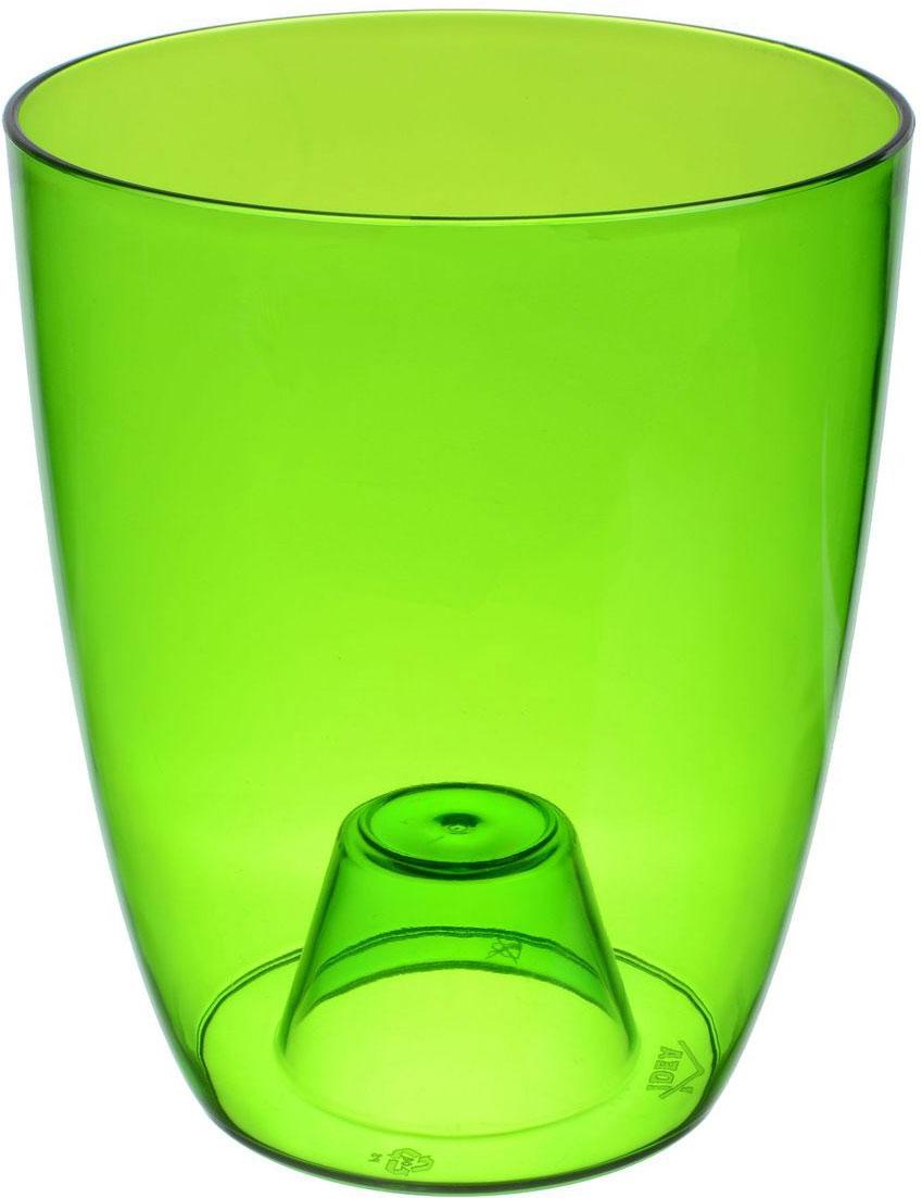 Кашпо Idea Орхидея, цвет: зеленый, прозрачный, диаметр 16 см green garden кашпо teak s