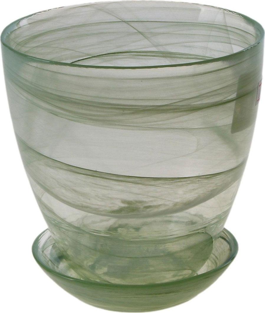Кашпо NiNaGlass Гармония, с поддоном, цвет: зеленый, 700 мл кашпо ароматы лета 1 5л с поддоном квадратный