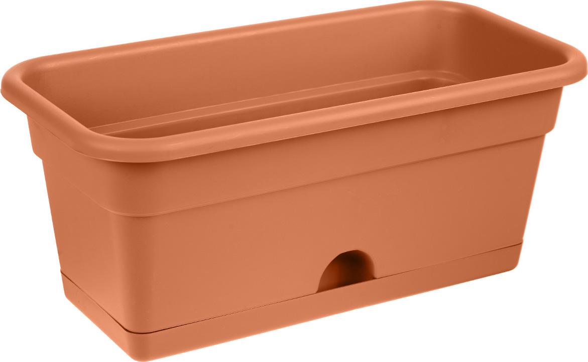 Балконный ящик Darel Plastic, с поддоном, цвет: терракотовый, 40 см х 20 см х 17 см ящик darel box с крышкой цвет салатовый прозрачный 18 л