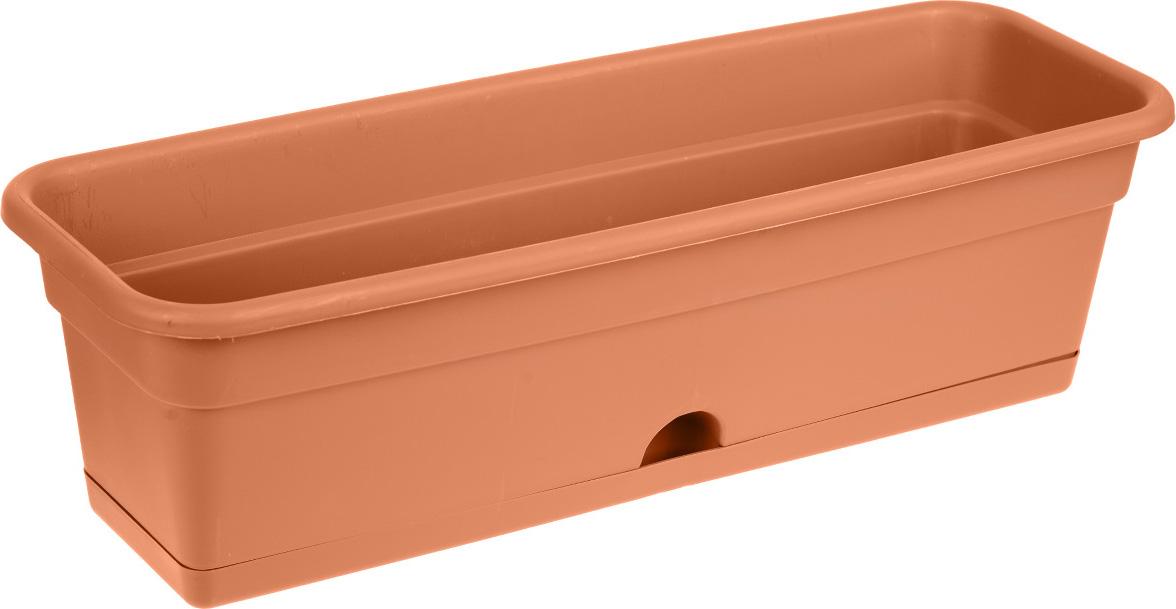Балконный ящик Darel Plastic, с поддоном, цвет: терракотовый, 60 х 20 х 17 см цена