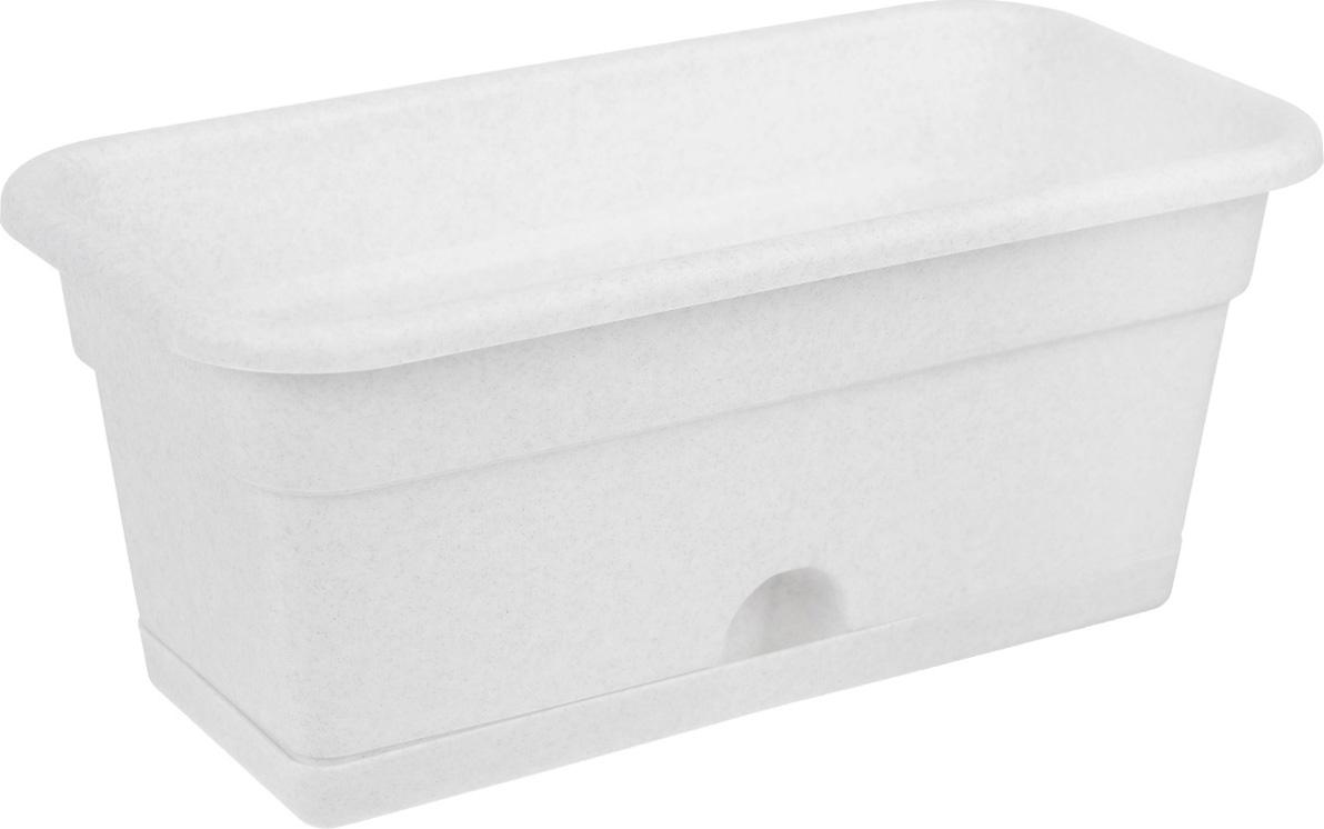 Балконный ящик Darel Plastic, с поддоном, цвет: мраморный, 40 х 20 х 17 см ящик darel box с крышкой цвет салатовый прозрачный 18 л