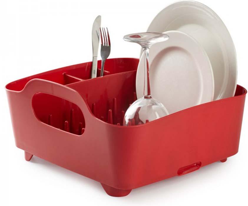 "Сушилка для посуды Umbra ""Tub"", цвет: красный, 34,5 см х 37 см х 18 см"