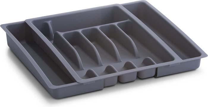 Подставка для столовых приборов Zeller, раздвижная, цвет: серый, 28-48 см х 38 см х 6,5 см подставка для столовых приборов kesperd с ручками цвет коричневый 38 х 32 х 4 см
